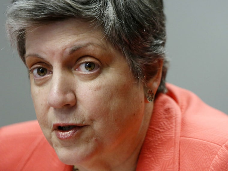 U.S. Homeland Security Secretary Janet Napolitano speaks to reporters during the Reuters Cybersecurity Summit in Washington, May 14, 2013.  (Photo by Jonathan Ernst/Reuters)