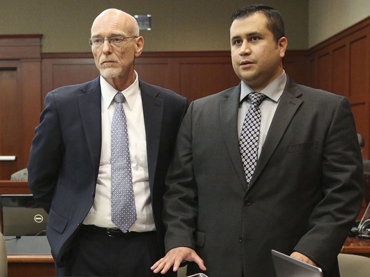 Standing next to his defense attorney Don West, left, George Zimmerman addresses Judge Debra Nelson during his trial in Seminole circuit court in Sanford, Fla., on July 10, 2013. (Photo by Gary W. Green/Orlando Sentinel/Pool/AP)
