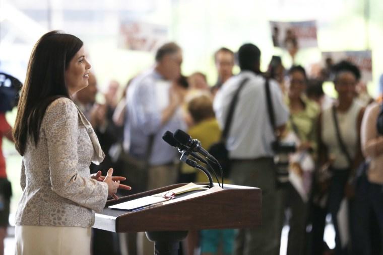 Pennsylvania Attorney Gen. Kathleen Kane speaks during a news conference at the National Constitution Center, Thursday, July 11, 2013, in Philadelphia. (AP Photo/Matt Rourke)