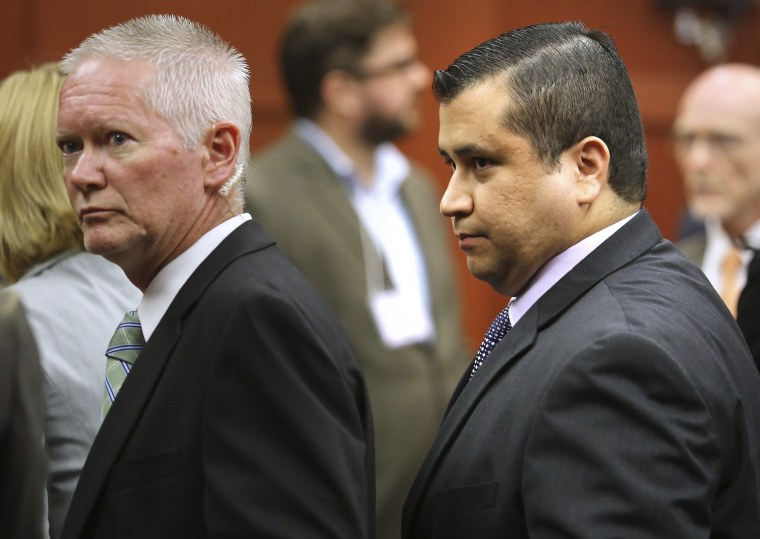 George Zimmerman, right, leaves court after Zimmerman's not guilty verdict was read in Seminole Circuit Court in Sanford, Fla. on Saturday, July 13, 2013. Jurors found Zimmerman not guilty of second-degree murder in the fatal shooting of 17-year-old...