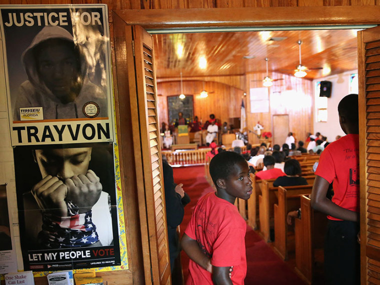 Parishioners attend Sunday service at Allen Chapel AME church in the historic black neighborhood of Goldsboro on July 14, 2013 in Sanford, Florida. During the service Pastor Valarie Houston compared seventeen-year-old Trayvon Martin, who was shot and...