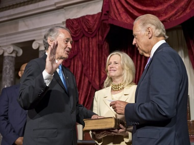 Sen. Edward Markey repeats the oath for Vice President Joe Biden in the Old Senate Chamber at the Capitol in Washington, Tuesday, July 16, 2013. (Photo by J. Scott Applewhite/AP)