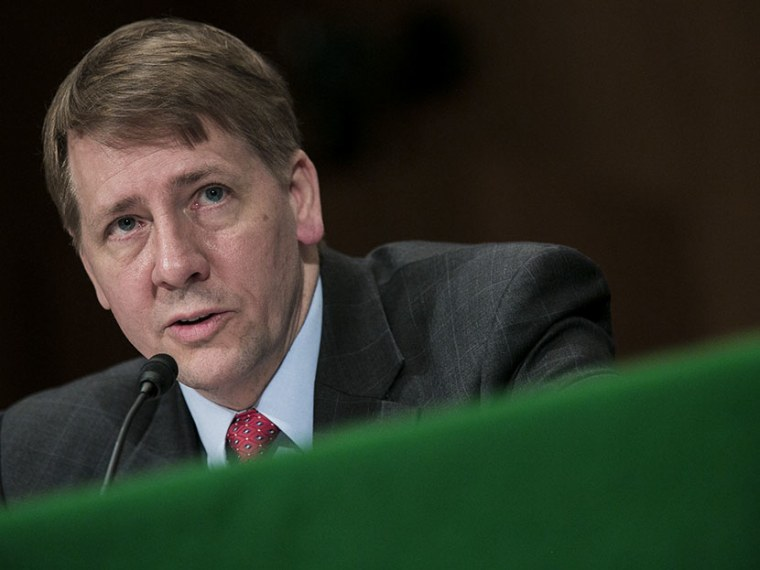 Richard Cordray, nominee for director of the Consumer Financial Protection Bureau, testifies at a confirmation hearing before the Senate Committee on Banking, Housing and Urban Affairs on March 12, 2013 in Washington, DC. (Photo by T.J. Kirkpatrick...