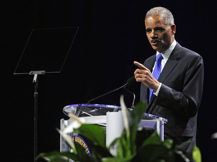 U.S. Attorney General Eric Holder speaks at the annual convention of the National Association for the Advancement of Colored People (NAACP) in Orlando July 16, 2013.  (Photo by David Manning/Reuters)