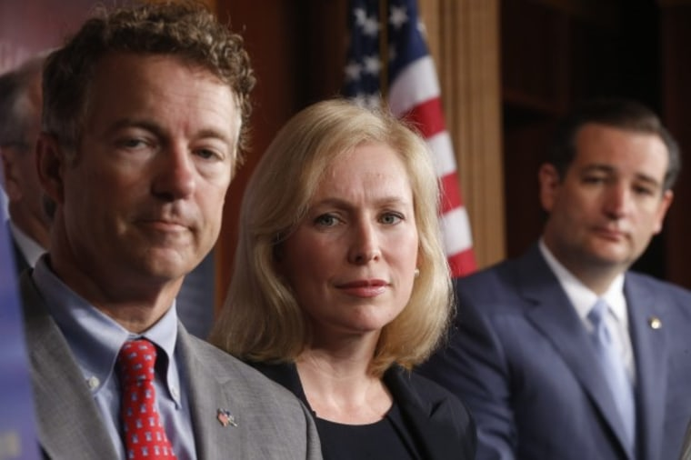 Sen. Kirsten Gillibrand, D-N.Y., Sen. Rand Paul, R-Ky., and Sen. Ted Cruz, R-Texas speak to reporters during a news conference about a bill regarding military sexual assault cases on Capitol Hill in Washington, Tuesday, July 16, 2013. (AP Photo/Charles...