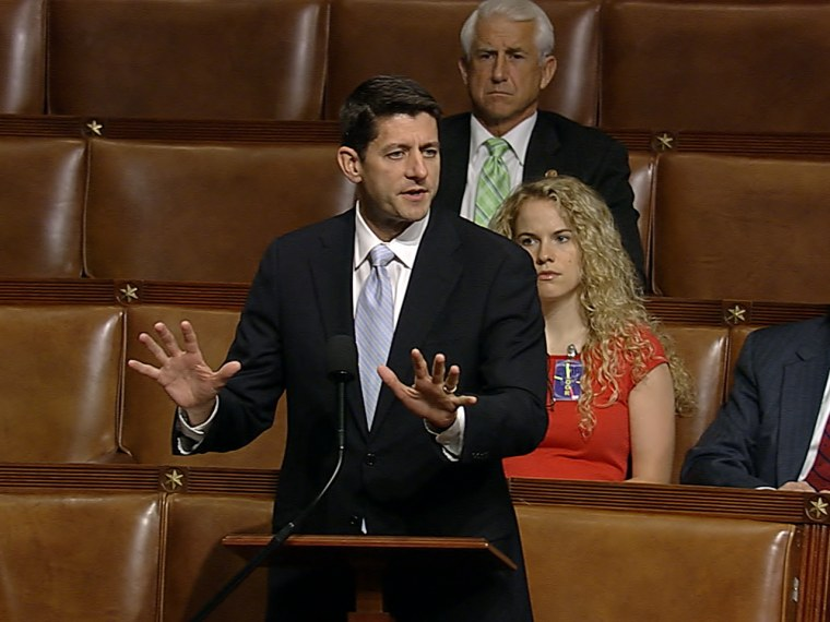 Rep. Paul Ryan, R-Wisc., debates two bills that would delay parts of the Affordable Care Act.