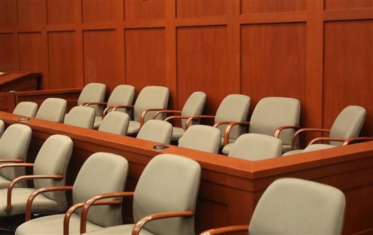 The empty jury box for the George Zimmerman trial in Sanford, Fla., is seen on June 17. (Joe Burbank / Orlando Sentinel pool via AP)