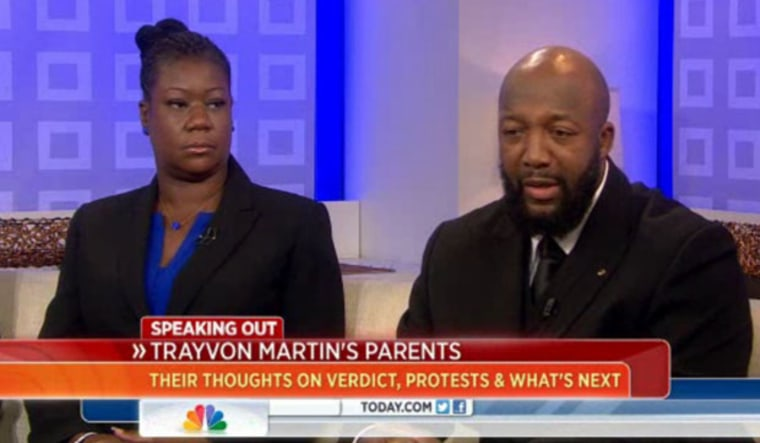 Trayvon Martin's parents, Sybrina Fulton and Tracy Martin, appear on the Today show July 18, 2013.