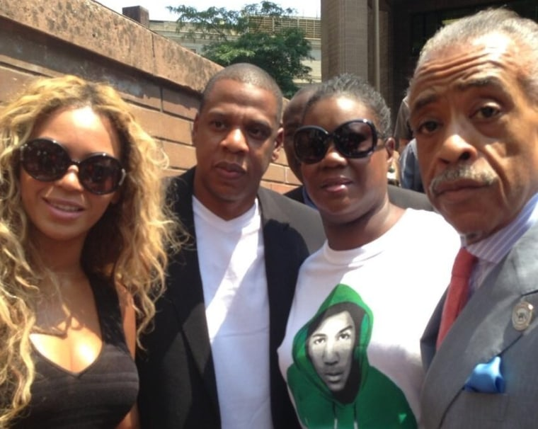 """Beyonce, Jay Z, Trayvon Martin's mother Sybrina Fulton, and Rev. Al Sharpton at a """"Justice for Trayvon"""" vigil in New York City, July 20, 2013. (Photo from Al Sharpton via twitter)"""