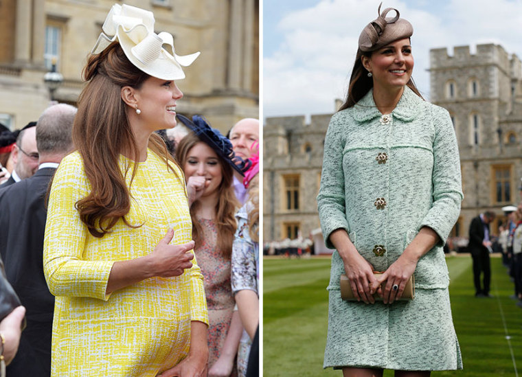 (L) Catherine, Duchess of Cambridge attends a Garden Party in the grounds of Buckingham Palace hosted by Queen Elizabeth II on May 22, 2013. (Photo by John Stillwell/WPA Pool/Getty Images) and (R) Catherine, Duchess of Cambridge attends the National...