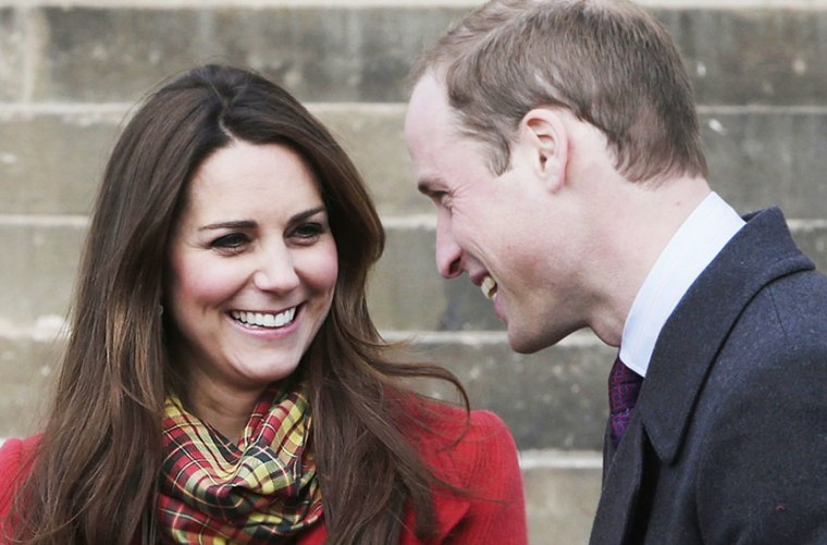 File photo of The Duke and Duchess of Cambridge, known as the Earl and Countess of Strathearn when in Scotland, smile during a visit to Dumfries House in Ayrshire, Scotland, to attend the opening of an outdoor centre, Friday April 5, 2013. (Photo by...