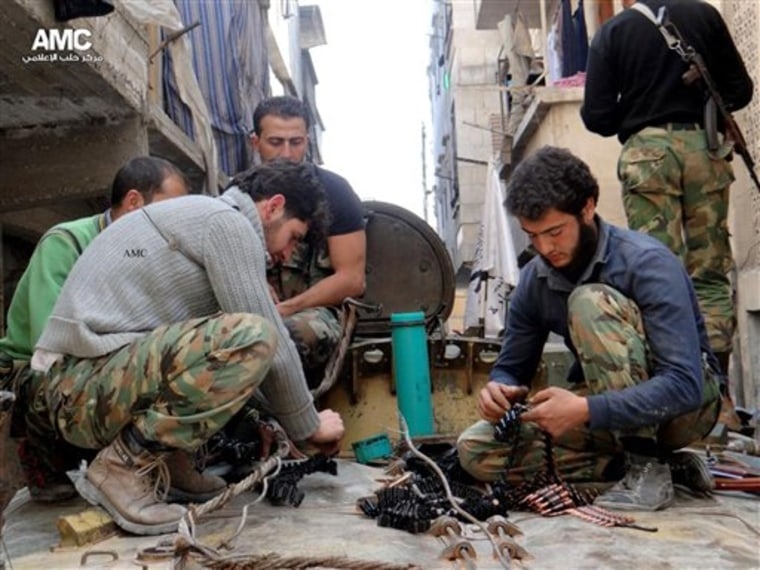 The Pentagon warns that greater aid to Syria's rebels may require thousands of soldiers and tens of billions of dollars. (AP Photo/Aleppo Media Center AMC, File)