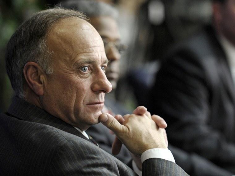 Rep. Steve King, R-Iowa, listens at the National Press Club in Washington on Feb. 8, 2011. (Photo by Cliff Owen/AP)