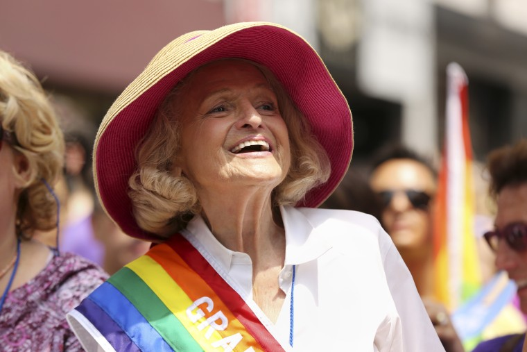 Edith Windsor, the plaintiff in the case involving the Defense of Marriage Act, among the grand marshals during the annual gay pride march in New York, June 30, 2013. People gathered Sunday to celebrate four days after the U.S. Supreme court issued...