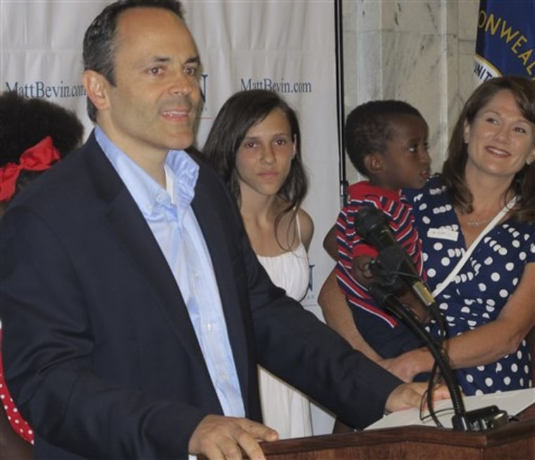 Matt Bevin, the man who scares Sen. Mitch McConnell more than anyone else.(AP Photo/Roger Alford)
