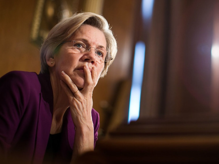 """U.S. Sen. Elizabeth Warren (D-MA) listens to testimony from witnesses during a Senate Banking, Housing and Urban Affairs Committee hearing on """"Mitigating Systemic Risk Through Wall Street Reforms,"""" on Capitol Hill, July 11, 2013 in Washington, DC.  ..."""