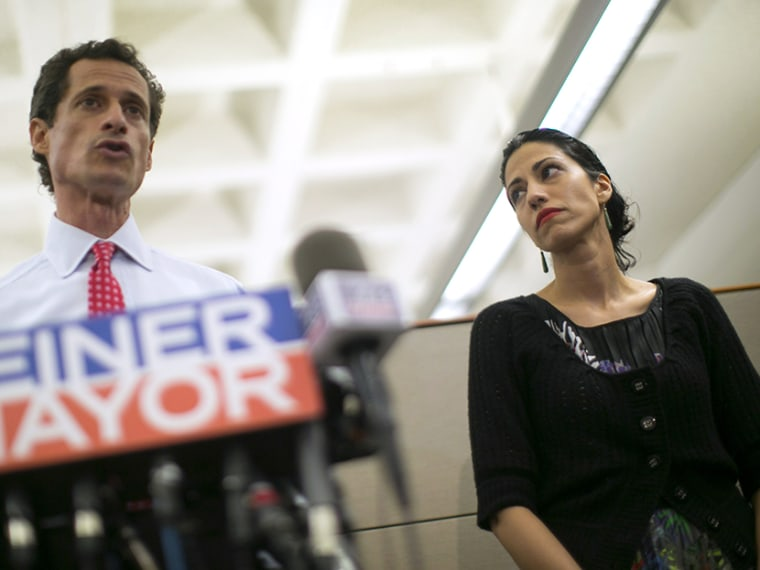 New York mayoral candidate Anthony Weiner and his wife Huma Abedin attend a news conference in New York, July 23, 2013. (Photo by Eric Thayer/Reuters)