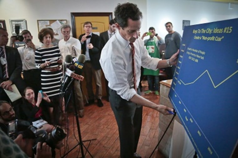 New York mayoral candidate Anthony Weiner displays a graphic during a news conference, Thursday, July 25, 2013, in New York. (Photo by Bebeto Matthews/AP)