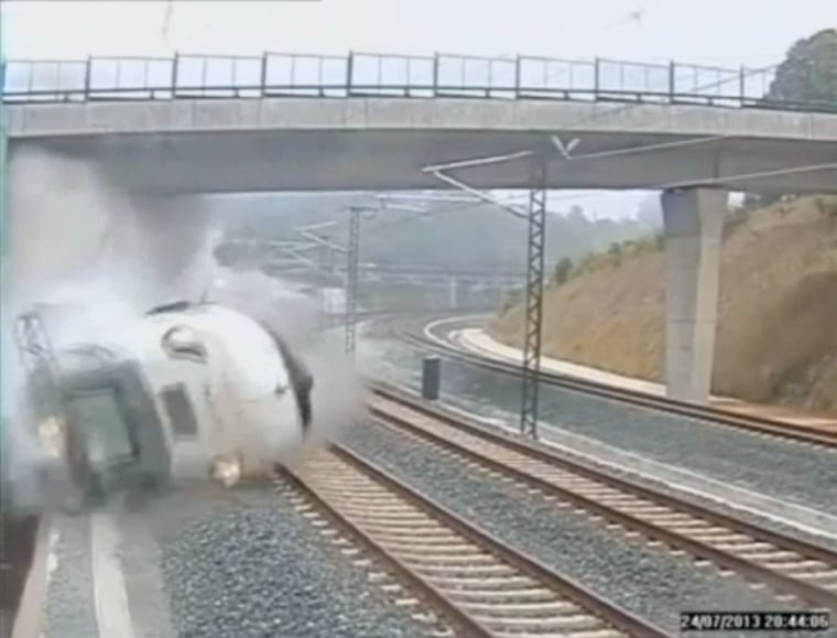 July 25, 2013 - Santiago de Compostela, Spain - A frame grab from a security video camera shows a train derailing. At least 78 people have been killed in the passenger train derailment in north-western Spain. More than 140 were hurt, 36 seriously,...