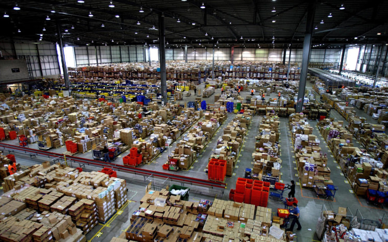 Amazon warehouse - Milton Keynes.Parcels ready for dispatch at the Amazon.co.uk distribution centre near Milton Keynes. Picture date: Friday November 30, 2007. Photo credit should read: Chris Radburn/PA Wire URN:5392296