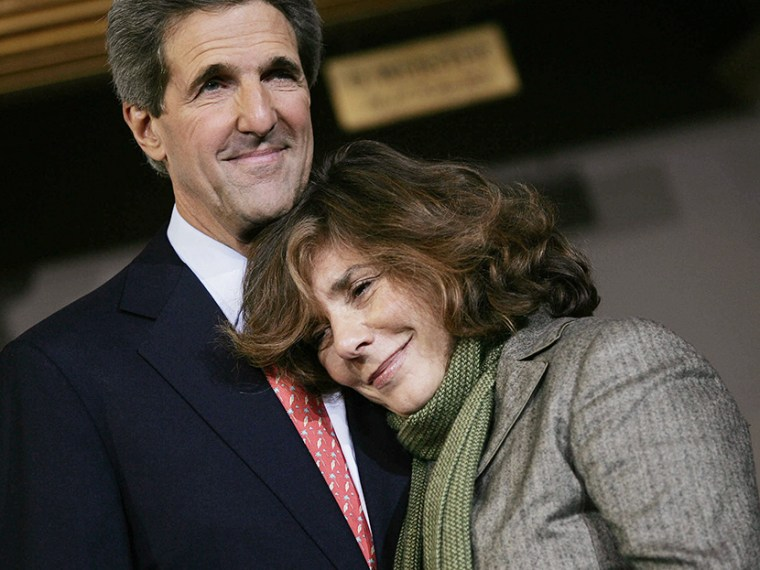 Former Democratic presidential candidate U.S. Senator John Kerry (D-MA) stands on stage with his wife Teresa Heinz Kerry after delivering his concession speech at Faneuil Hall November 3, 2004 in Boston, Massachusetts.  (Photo by Chris Hondros/Getty...