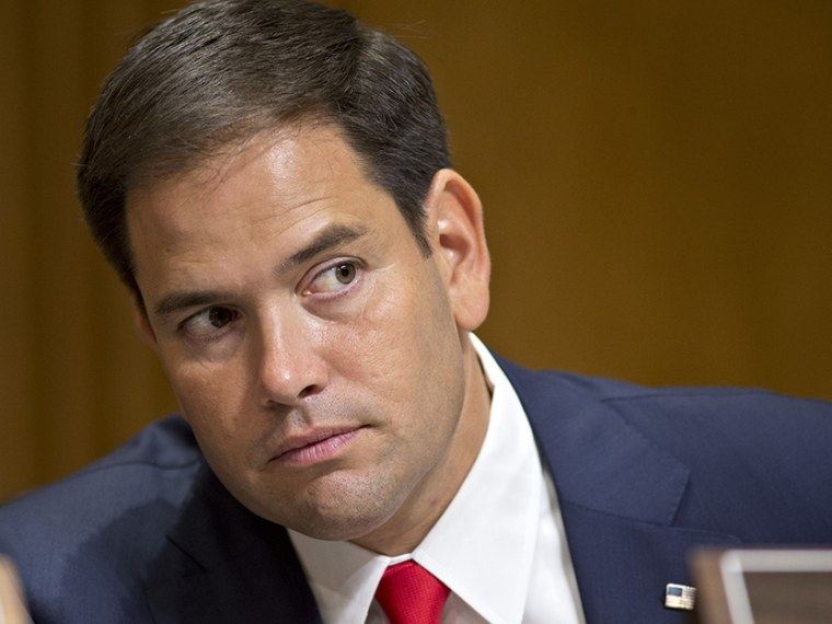 Sen. Marco Rubio, R-Fla., attends a Senate Foreign Relations Committee hearing on the nomination of Victoria Nuland to be assistant secretary of State for European and Eurasian affairs, on Capitol Hill in Washington, Thursday, July 11, 2013. (Photo by...