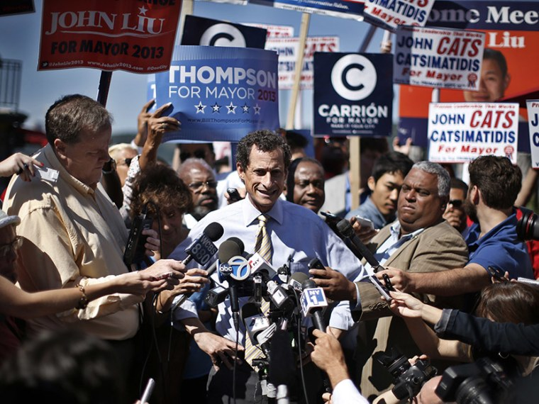 Former U.S. Congressman Anthony Weiner speaks to reporters after a mayoral candidates forum in the Inwood section of upper Manhattan in New York, July 30, 2013. (Photo by Mike Segar/Reuters)