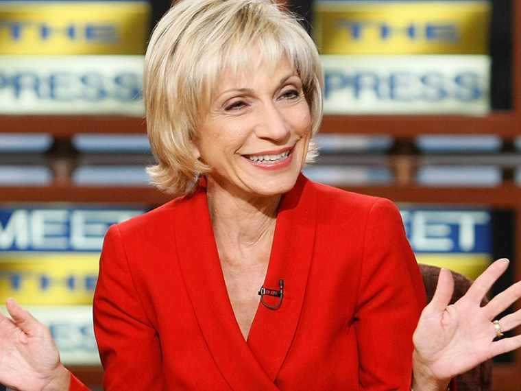 "Andrea Mitchell, appears on ""Meet the Press'"" on Sunday, Sept. 23, 2007, at the NBC studios in Washington. (Photo by Alex Wong/Meet The Press/AP)"