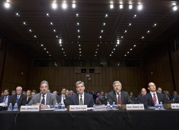 From left, Deputy Attorney General James Cole; National Security Agency Deputy Director John C. Inglis; Robert Litt, general counsel in the Office of Director of National Intelligence; and Sean Joyce, deputy director of the FBI, wait to testify on...