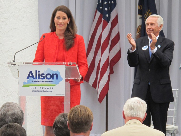 Democrat Alison Lundergan Grimes speaks during an outdoor political rally in Lexington, Ky., on Tuesday, July 30, 2013. (Photo by Roger Alford/AP)