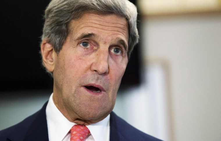 Secretary of State John Kerry gives policy address on same-sex spouses applying for U.S. visas, Friday, Aug. 2, 2013, at the U.S. Embassy in London. The U.S. will immediately begin considering visa applications of gay and lesbian spouses in the same...