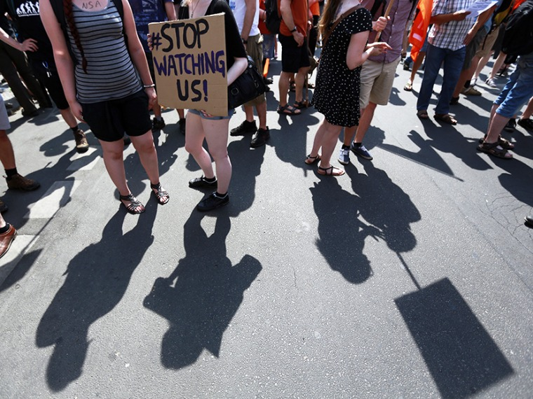 Protesters cast their shadows during a demonstration against secret monitoring programs in Berlin, July 27, 2013. (Photo by Pawel Kopczynski/Reuters)