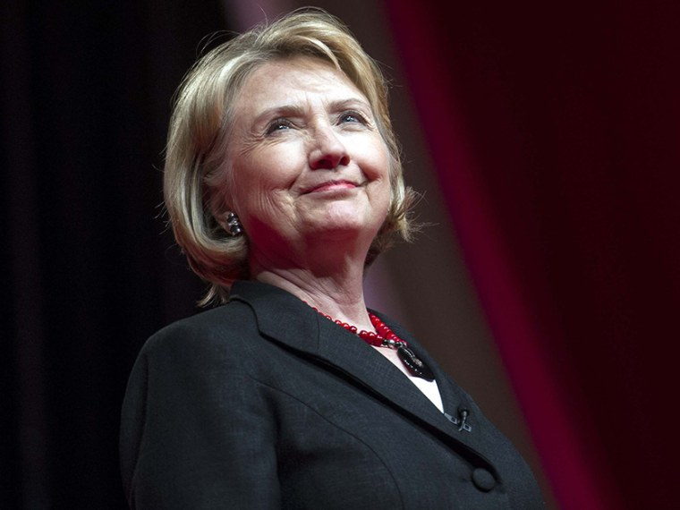 This July 16, 2013 file photo shows former Secretary of State Hillary Rodham Clinton addressing the 51st Delta Sigma Theta National Convention in Washington. (Photo by Cliff Owen/AP)