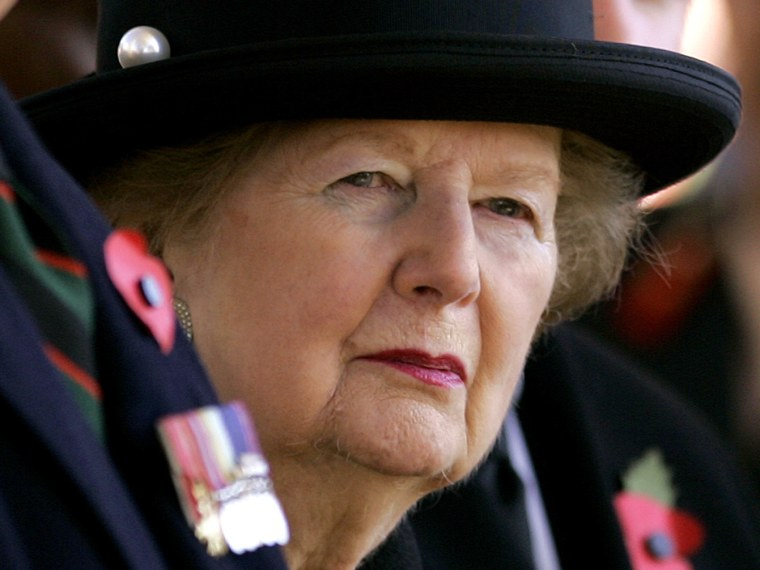 Former British Prime Minister Baroness Margaret Thatcher is seen at a wreath laying ceremony in London, in this Friday, Nov. 9, 2007 file photo. Former Prime Minister Margaret Thatcher was hospitalized in stable condition in central London on Saturday...