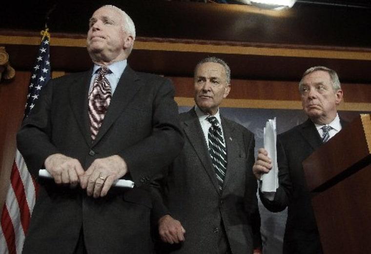 (R-L) U.S. Senator Richard Durbin (D-IL), Senator Charles Schumer (D-NY) and Senator John McCain (R-AZ) listen to a question at a news conference on comprehensive immigration reform at the U.S. Capitol in Washington January 28, 2013. (REUTERS/Gary...