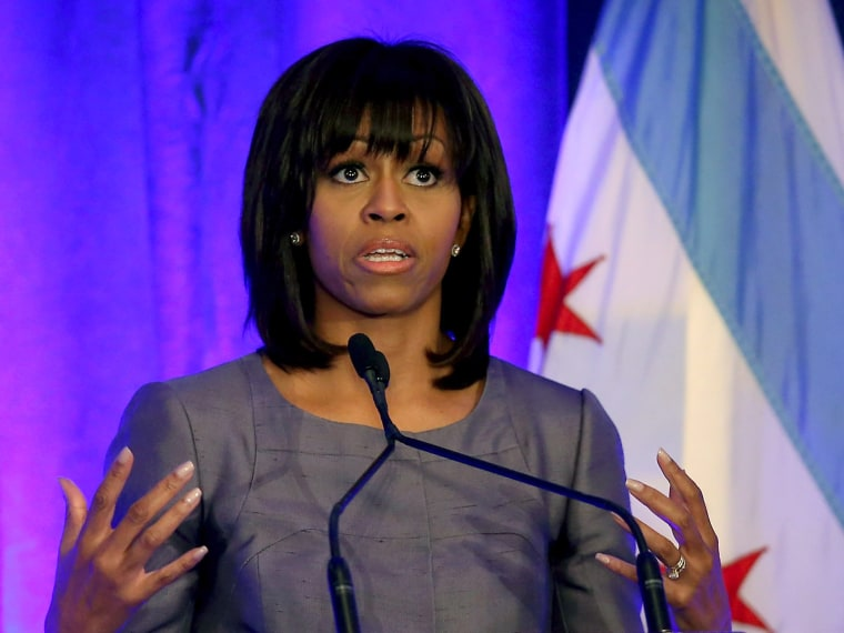 First lady Michelle Obama get emotional as she speaks to guests about the murder of 15-year-old Hadiya Pendleton during a speech about combating youth violence at a luncheon April 10, 2013 in Chicago, Illinois. According to published reports Chicago...