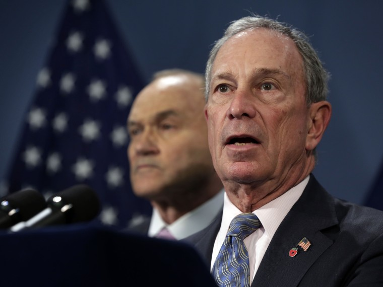 New York Mayor Michael Bloomberg, right, accompanied by Police Commissioner Raymond Kelly, addresses a news conference in the Blue Room of New York's City Hall,  Tuesday, April 16, 2013. Bloomberg says the city would keep up security on landmarks and...