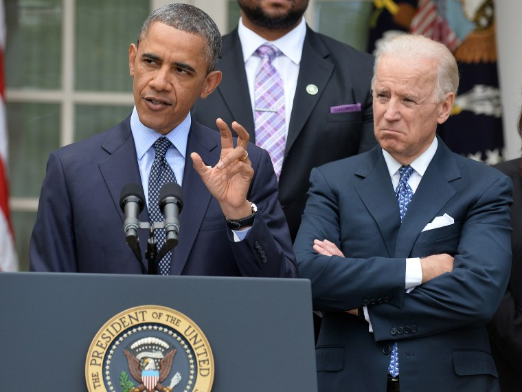 US President Barack Obama (L) is accompanied by vice president Joe Biden (C) and family members of Newtown school shooting victims during a press conference at the Rose Garden of the White House in Washington, DC, on April 17, 2013. Obama slammed what...