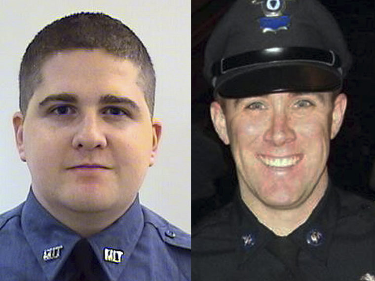 The digital composite shows: (L) This undated photo provided by the Middlesex District Attorney's Office shows MIT Police Officer Sean Collier, 26, of Somerville, Mass.,. (Photo by AP Photo/Middlesex District Attorney's Office) (R) This undated photo...