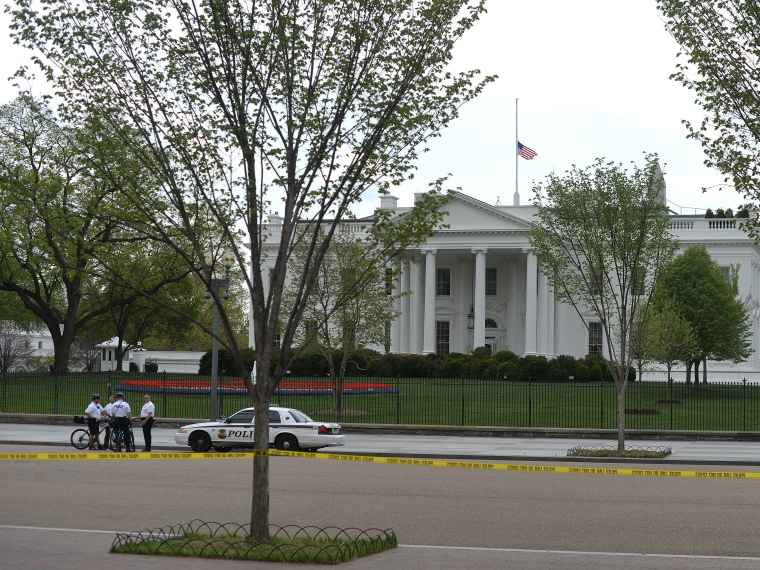 Members of US Secret Service Uniformed Division secure an area in front of White House in Washington, DC, on April 17, 2013 as a part of tightened security following the Boston marathon bomb blasts. A letter addressed to US President Barack Obama has...