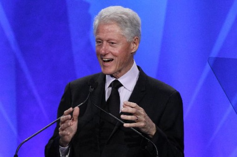 Former U.S. President Bill Clinton speaks on stage after he received the Advocate for Change Award during the 24th Annual GLAAD Media Awards at JW Marriott Los Angeles at L.A. LIVE in Los Angeles, California, April 20, 2013. REUTERS/Jonathan Alcorn ...