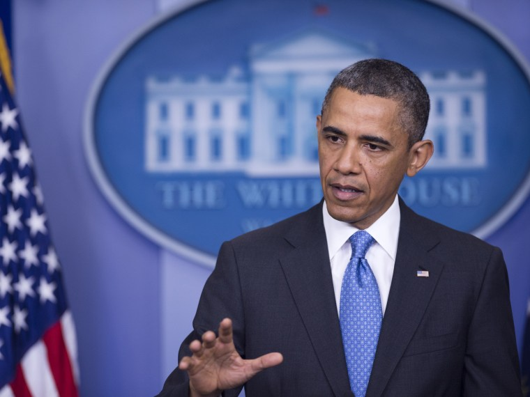 President Barack Obama holds a press conference in the Brady Press Briefing Room of the White House in Washington, DC, on April 30, 2013. The President on Tuesday warned of rushing to judgement on possible use of chemical weapons by Syria. (Photo by...