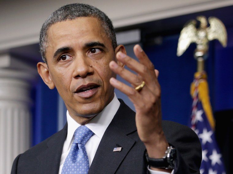 U.S. President Barack Obama holds a news conference in the Brady Press Briefing Room at the White House April 30, 2013 in Washington, DC. The president took questions on a variety of subjects including immigration reform, the ongoing civil war in Syria...