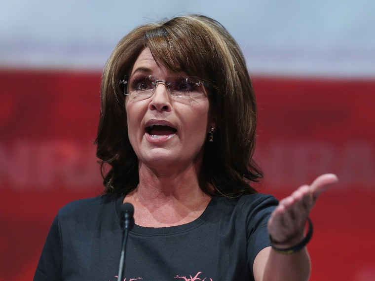 Former Alaska Gov. Sarah Palin speaks during the 2013 NRA Annual Meeting and Exhibits at the George R. Brown Convention Center on May 3, 2013 in Houston, Texas.  More than 70,000 people are expected to attend the NRA's 3-day annual meeting that...