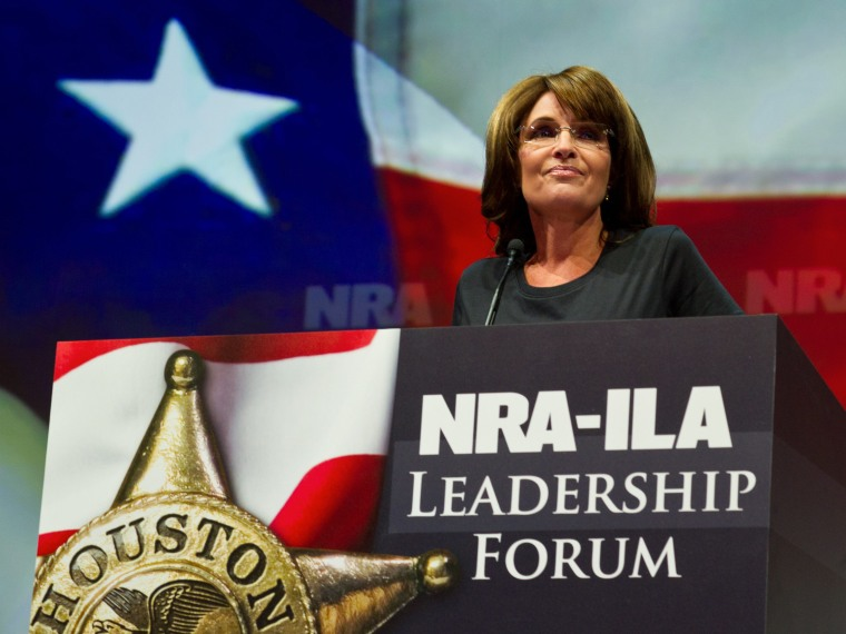 Former Alaska governor and Republican vice presidential candidate Sarah Palin addresses the annual NRA Convention May 3, 2013 in Houston, Texas.  More than 70,000 members of the nation's premier gun rights organization have flocked to Texas for the...