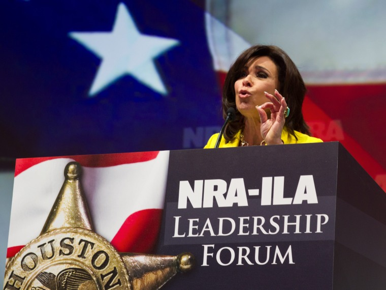 """Judge Jeanine Pirro, host of the television program """"Justice with Judge Jeanine,"""" addresses the NRA annual Convention May 3, 2013 in Houston, Texas. More than 70,000 members of the nation's premier gun rights organization have flocked to Texas for the..."""