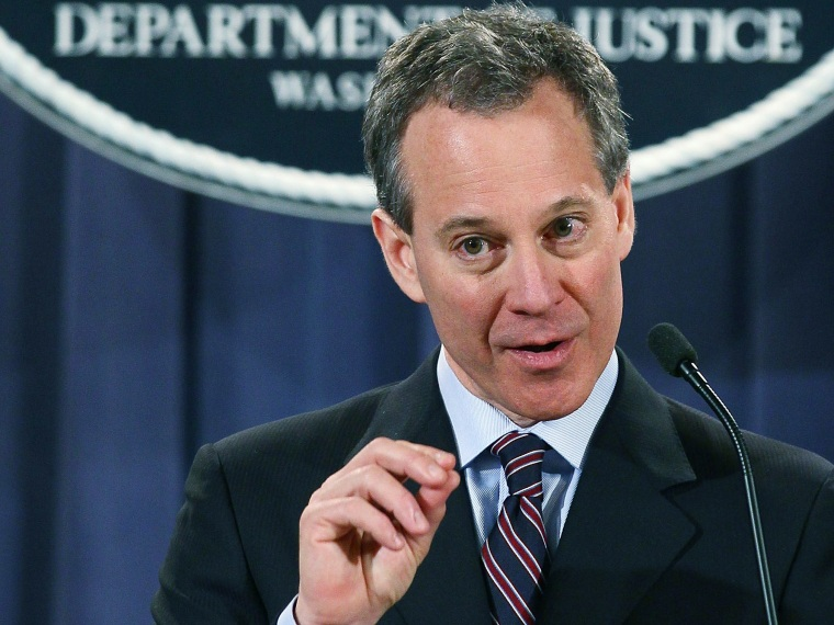 New York Attorney General Eric Schneiderman speaks during a news conference at the Justice Department on January 27, 2012, in Washington, DC. Attorney General Eric Holder announced the formation of the residential mortgage backed securities group that...