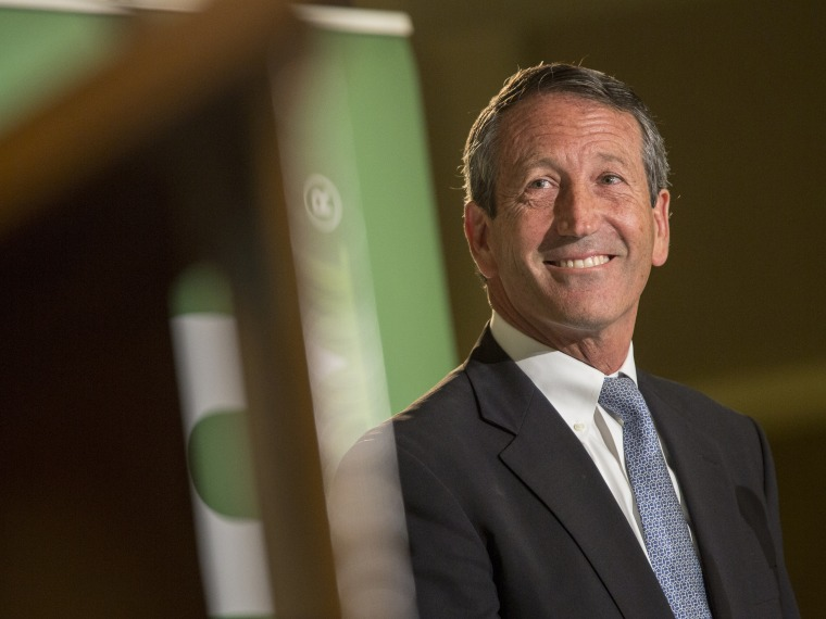 Rupublican candidate for the open Congressional seat of South Carolina, Former South Carolina Governor Mark Sanford, smiles after avoiding a question about his extra marital affair during a debate against U.S. House of Representatives Democratic...