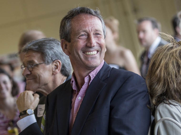CHARLESTON, SC - APRIL 30:  Former South Carolina Governor and U.S. House of Representatives Republican candidate for the state of South Carolina Mark Sanford smiles during the Charleston Area Chamber of Commerce's Pork and Politics on April 30, 2013...