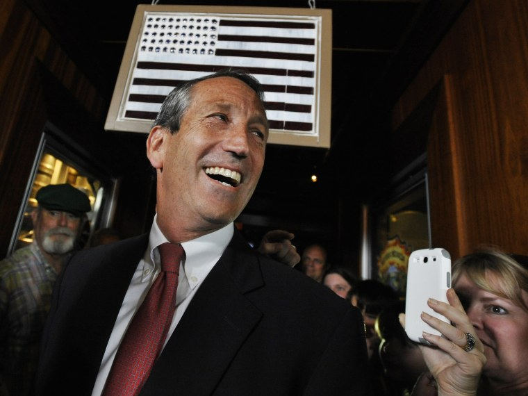Former South Carolina Gov. Mark Sanford arrives to give his victory speech on Tuesday, May 7, 2013, in Mt. Pleasant, S.C. Sanford won back his old congressional seat in the state's 1st District in a special election. (Photo by Rainier Ehrhardt/AP Photo)